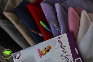 10 couleurs de polaires pour compléter ma collection, 3 crayons à textile et du papier transfert sur tissu