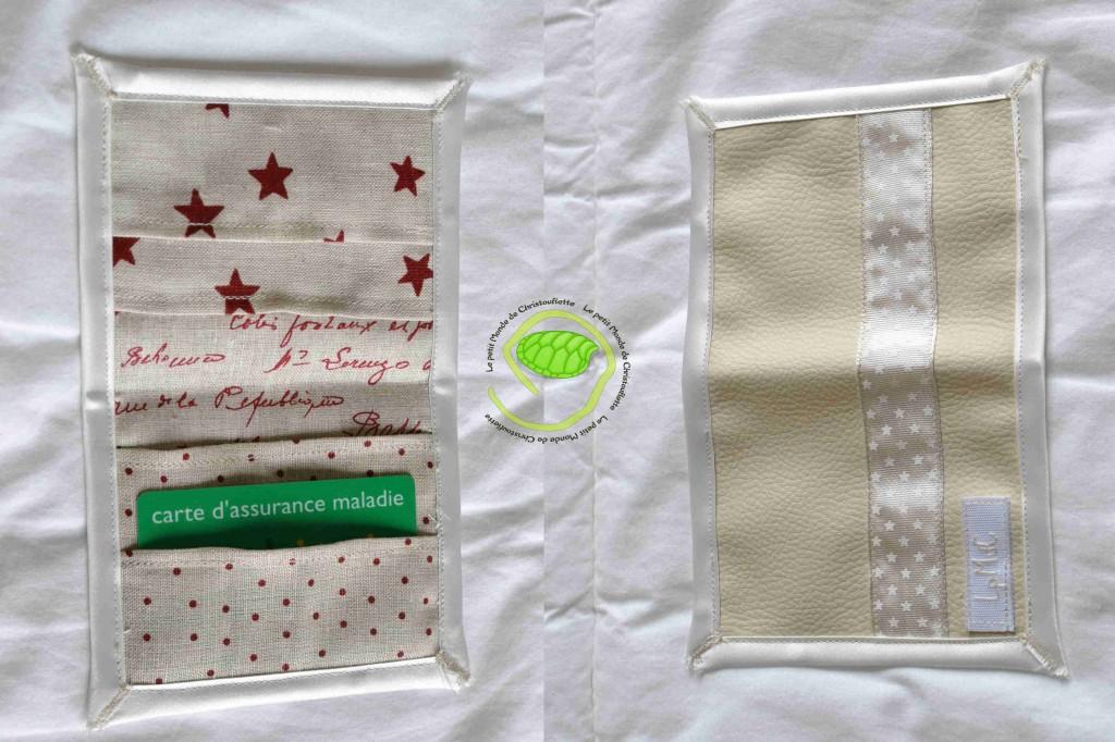 extérieur en simili beige avec un ruban à étoiles et un biais en satin écru A l'intérieur 3 types de lin ficelle : étoiles, pois et écritures rouges