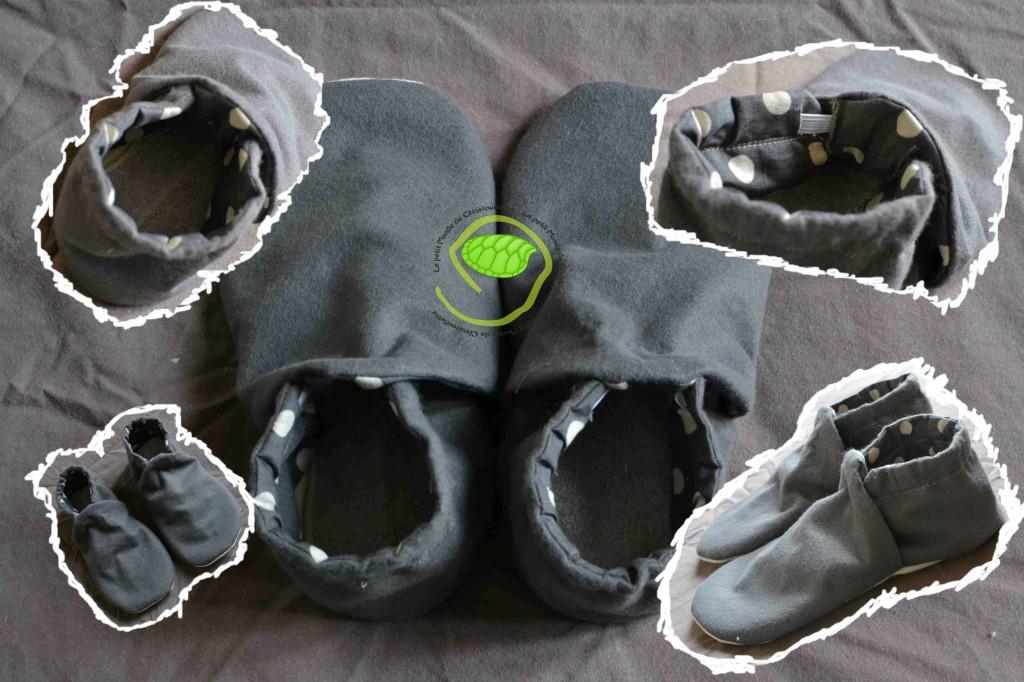 Extérieur en feutrine grise avec une semelle en coton tissé avec des chevrons Intérieur en tissu gris à gros pois écru avec une semelle amovible en éponge grise doublé