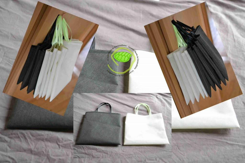 Réalisé en tissu non tissé écru et gris anthracite avec des anses en ruban de satin noir et vert format : 24x24 cm