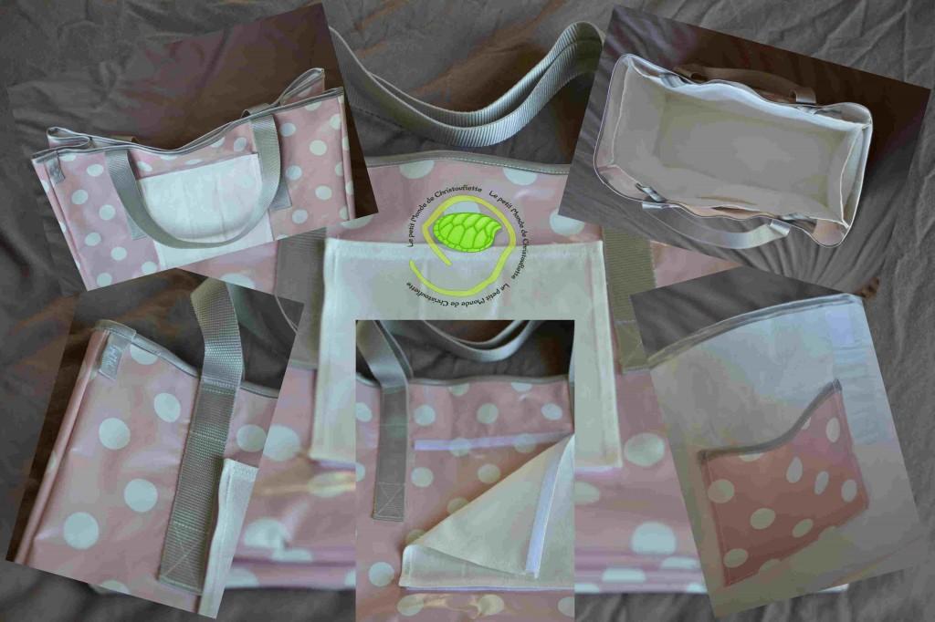 Extérieur en toile ciré à pois blanc et rose avec des sangles grises et un biais en satin gris ainsi qu'une personnalisation en coton interchangeable sur le devant du sac et bien sûr une doublure en coton amovible qui peut servir de second sac