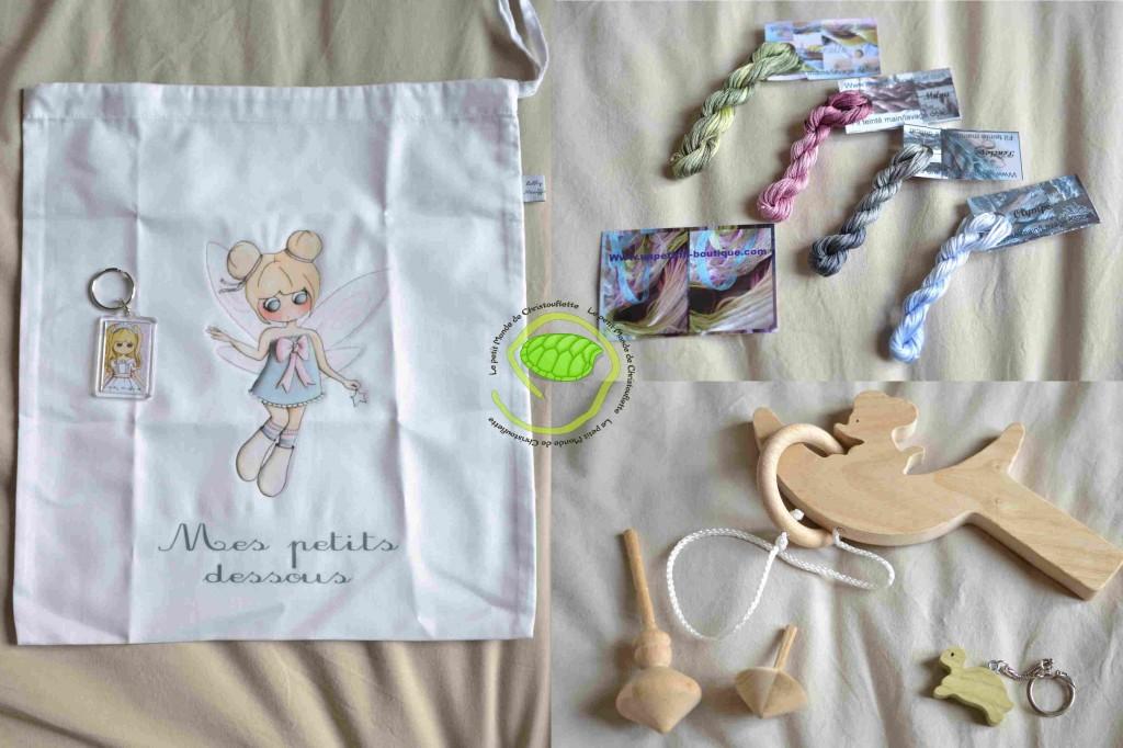 Les jouets en bois très sympas ! Des petites bonnes femmes que j'adore ! Et des fils teintés pour de jolis ouvrages !