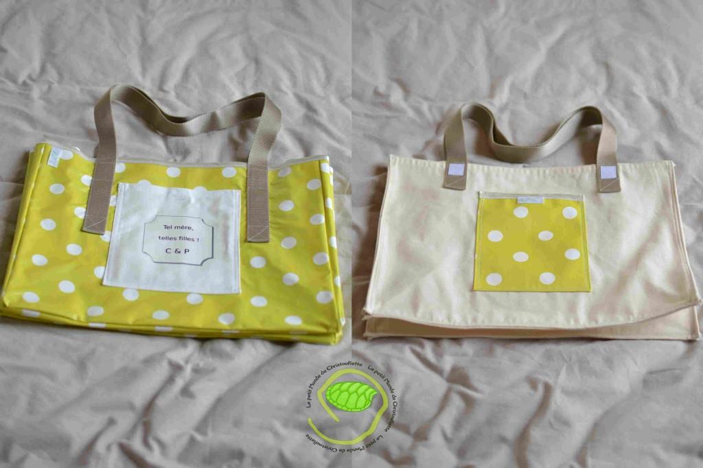 Double sac cabas vert personnalisé