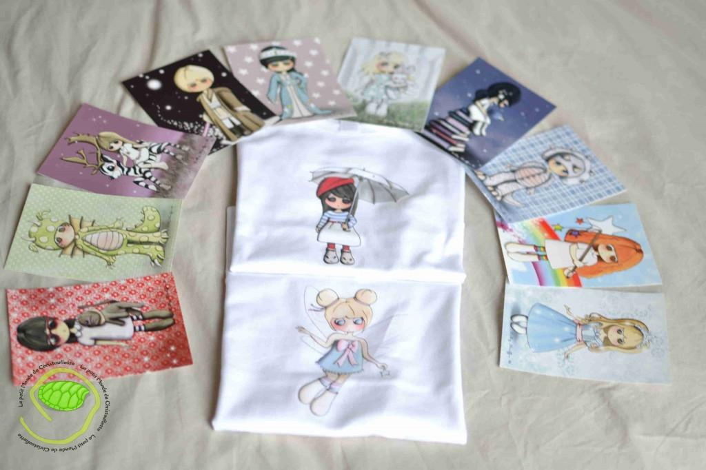 2 t-shirts 4 ans pour ma puce et 10 cartes avec les personnages de Lilly Muffin !