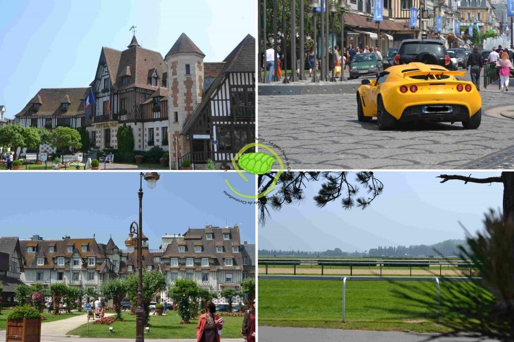 """1- sa mairie  2- les voitures que l'on peut y croiser 3- l'hôtel """"le Normandie"""" 4- l'hippodrome"""