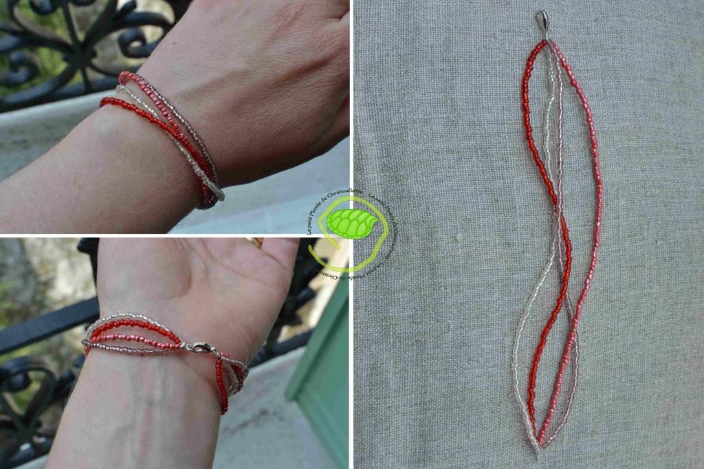 4 couleurs de perles de rocaille : transparente, parme, rouge et rose nacré !