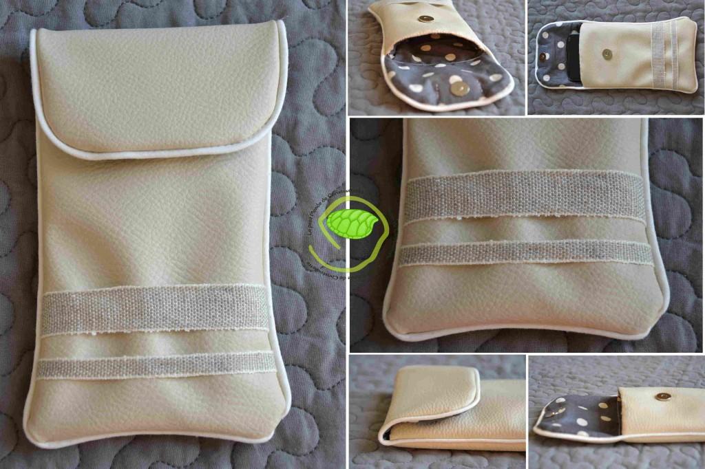 Du simili écru avec un passepoil écru, deux bandes de lin de largeurs différentes, une doublure à pois écru sur fond gris et une pression aimant ! Des renforts de sac à main viennent rigidifier la housse en cas de choc !