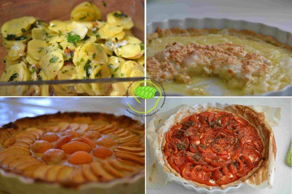 1. des pommes de terre au four 2. une tarte à l'ananas meringuée 3. une tarte abricot pêche 4. Une tarte chèvre/tomate
