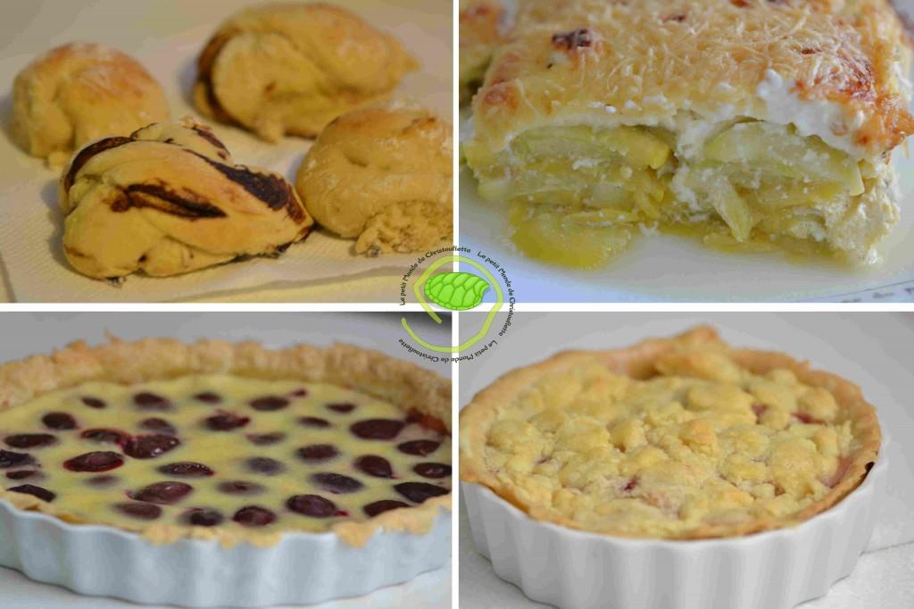 1. des brioches au chocolat 2. un gratin de courgette 3. une tarte aux quetsches 4. une tartelette aux pommes façon crumble