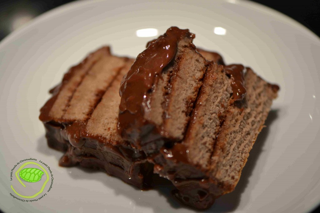 Une génoise au chocolat avec un coulis de chocolat et un peu de confiture de groseille !