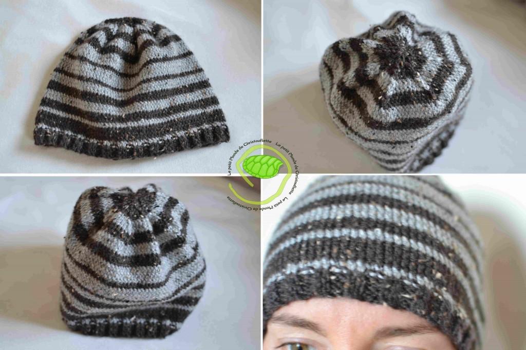 J'ai utilisé de la laine Canada marron et grise. Je l'ai tricoté avec une aiguille circulaire de 3,5 !