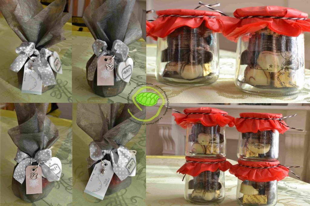 """100g de chocolats Jeff de Bruges, un pot en verre avec du collant de """"dentelles oxydées"""", une ficelle bicolore blanc et noir, du papier de soie rouge, du tissu non tissé gris, un petit coeur en bois blanc avec un morceau de scotch, un ruban à étoile, un porte clef avec un charm colombe ou coccinelle et une petite étiquette de """"Avec mes dix doigts"""" ou de """"Bliss&Co"""" D"""