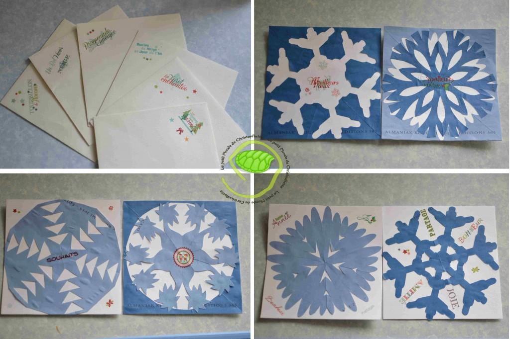 Des étoiles et des flocons en papier découpé, des stickers de bonne année, un peu de colle, du double face et du papier à dessin blanc et le tout est joué ! Les bonnes enveloppes avec des petits stickers et voilà c'est dans la boîte !