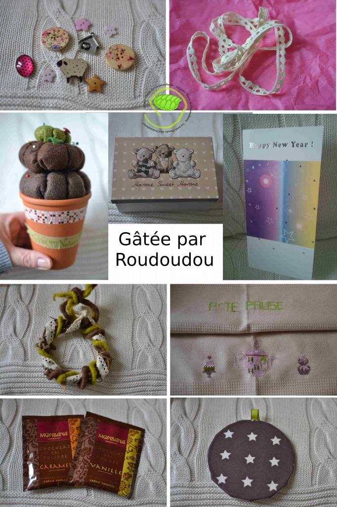 De beaux boutons, de la dentelle, un pot pour piquer les aiguilles en feutrine, une boite avec de ours, une carte, une couronne, un torchon brodé, de sachet de chocolat et un dessous de tasse.