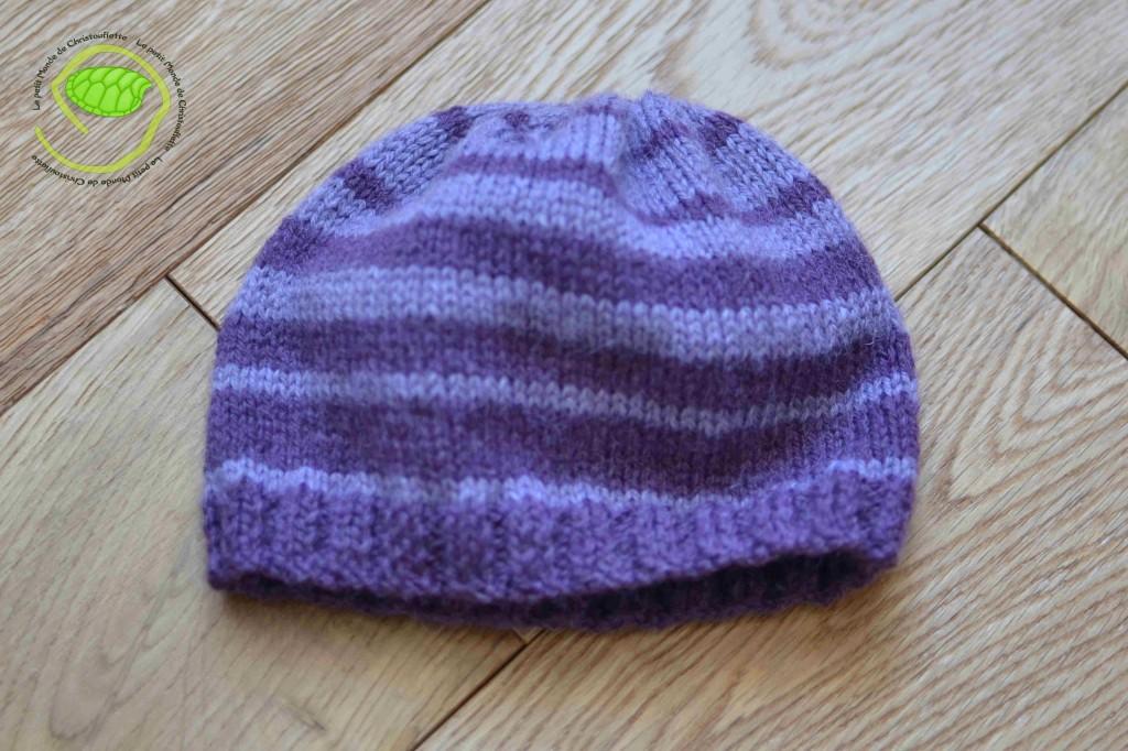 C'est le même modèle que pour mon bonnet mais avec des mailles en moins ! (aiguilles circulaires de 3,5 avec deux couleurs de laine)