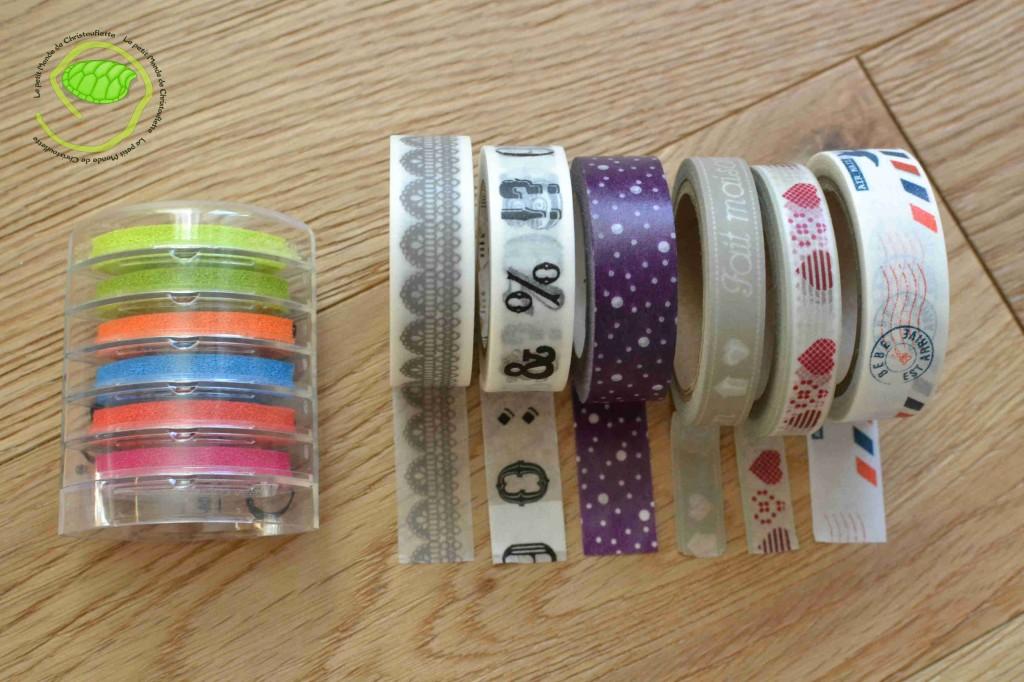 Les encreurs à tampons multicolores, et 6 rouleaux de making tape dont 3 à BHV Marais et 3 au Furet à Aéroville.