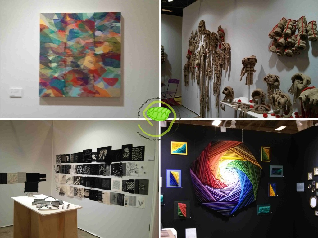Un tableau en fil, des sculptures en crochet, des tableaux de fil et tissu et un tableau en feutrine