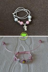 Un collier avec perles et charm et un bracelet shamballa dans les tons roses et blancs pour coller avec le sac !