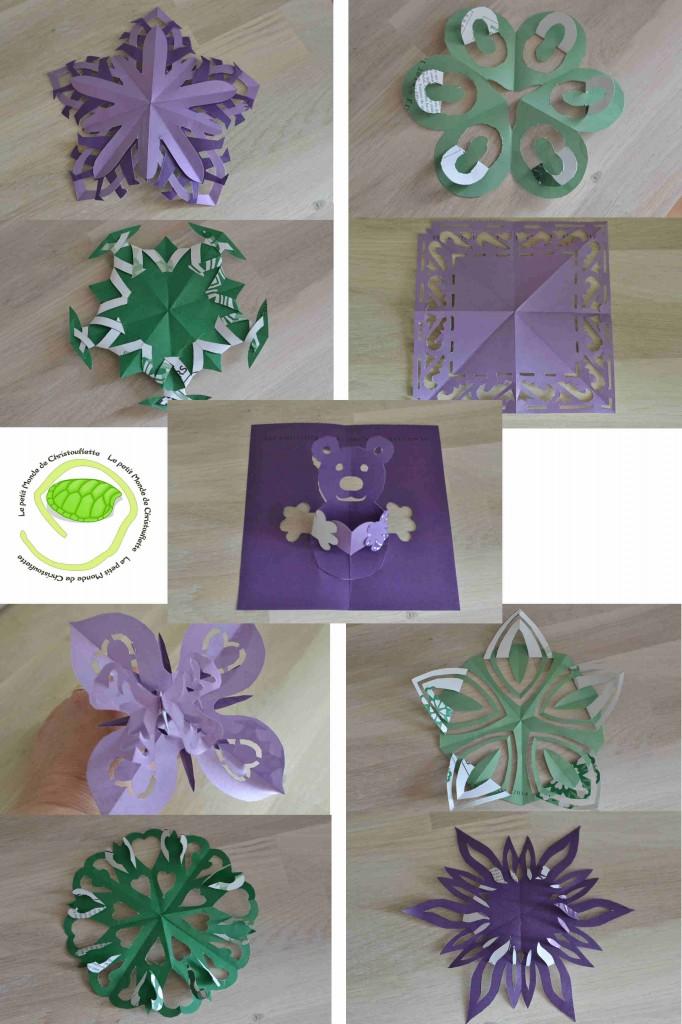 On passe du vert au violet et il y a de plus en plus de superpositions ! Sur la fleur, il y a un papillon mais on ne le voit pas beaucoup car il est de la même couleur ...