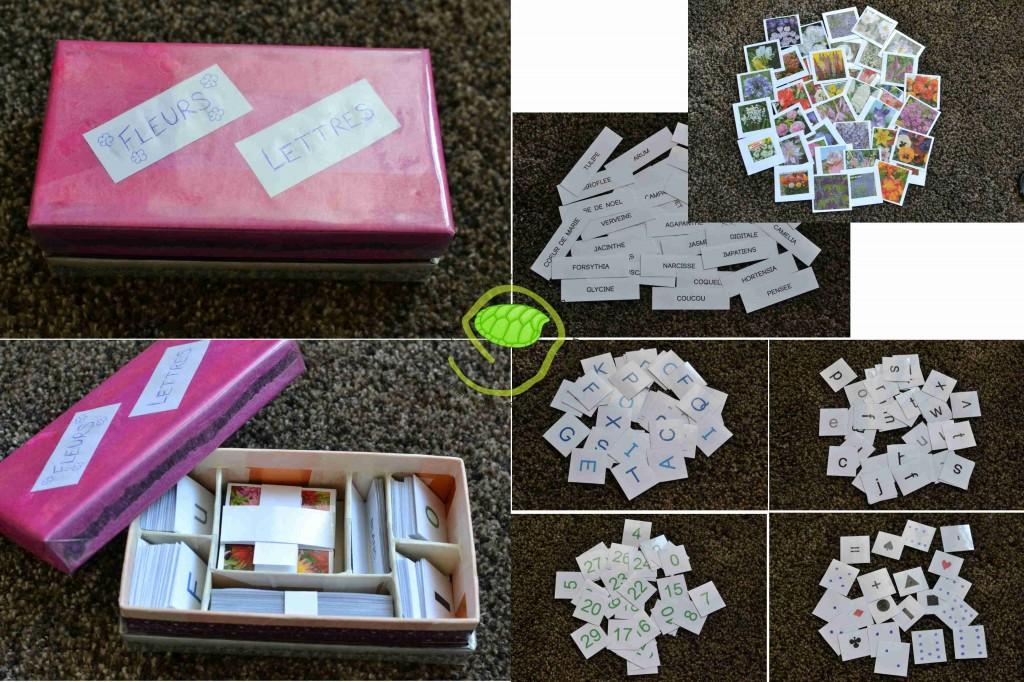 Une boîte de chocolat un peu customisée, des séparations en carton et des cartes à jouer de différentes tailles.
