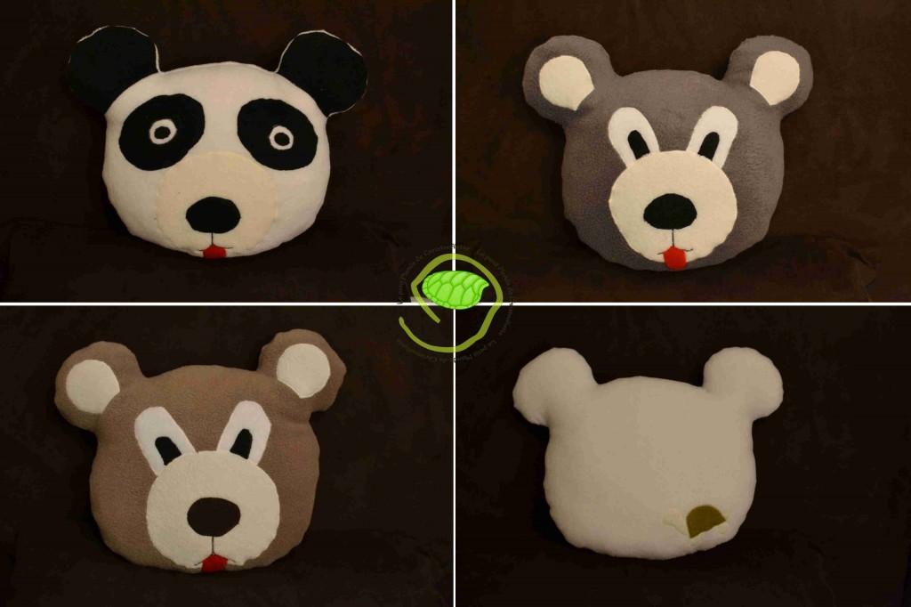 Un panda, un ours gris et un ours brun ... et l'arrière du panda !