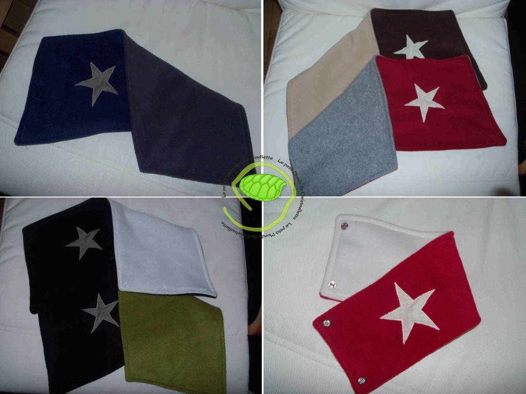 Les grands sont pour les adultes ... bleu/violet, Noir/ blanc ou vert, Marron/beige et rouge/gris. Le dernier rouge/écru est les plus petits !