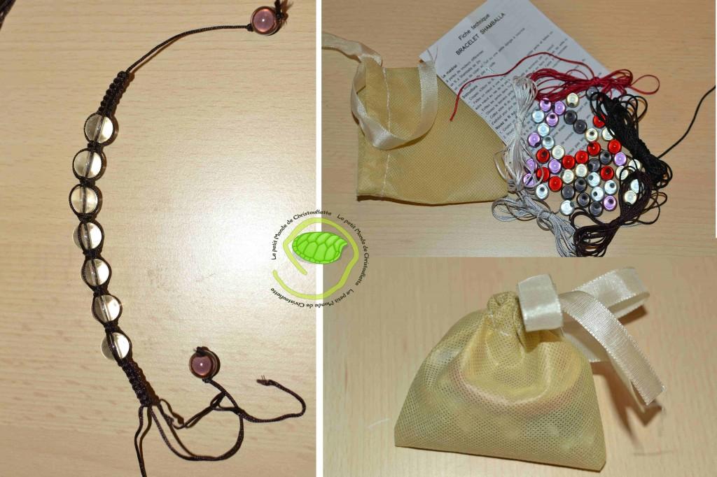 Cinq fils de 2 mètres, 5 lots de 9 perles nacrées et une petite notice explicative ... de quoi faire 5 bracelets !