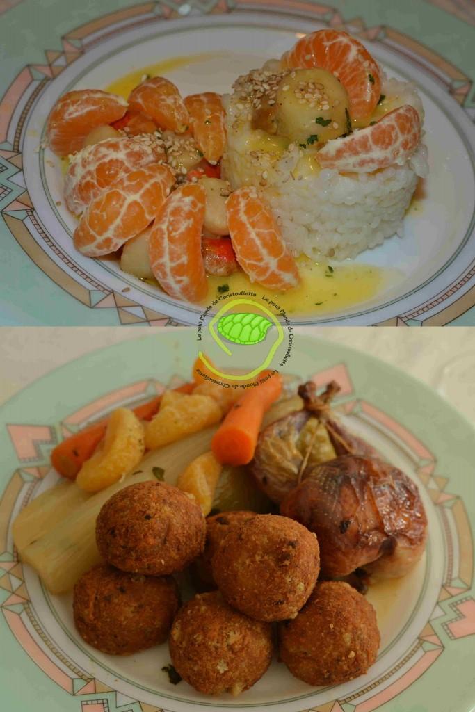 Saint Jacques au beurre et sirop de Clémentine avec son petit riz Caille farcie avec des pommes dauphines aux cêpes et sa garniture d'endives et carottes