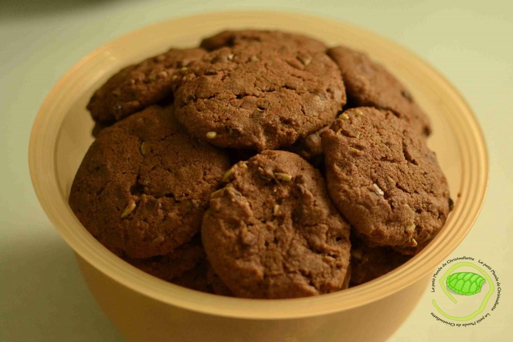 cookies au chocolat avec des graines de tournesol